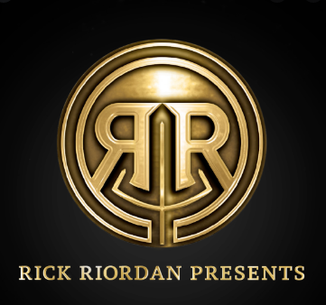 """""""Rick Riordan Presents"""" logo, a backwards R in front of a forwards R, underneath the logo are the words """"Rick Riordan Presents"""""""