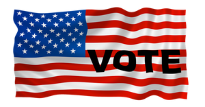 "American Flag with ""vote"" written in black letters horizontally across"