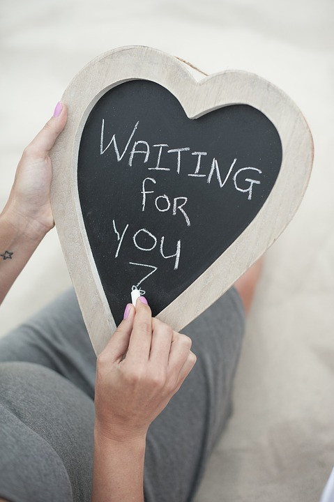 """Chalkboard heart sign that says """"Waiting for You"""""""