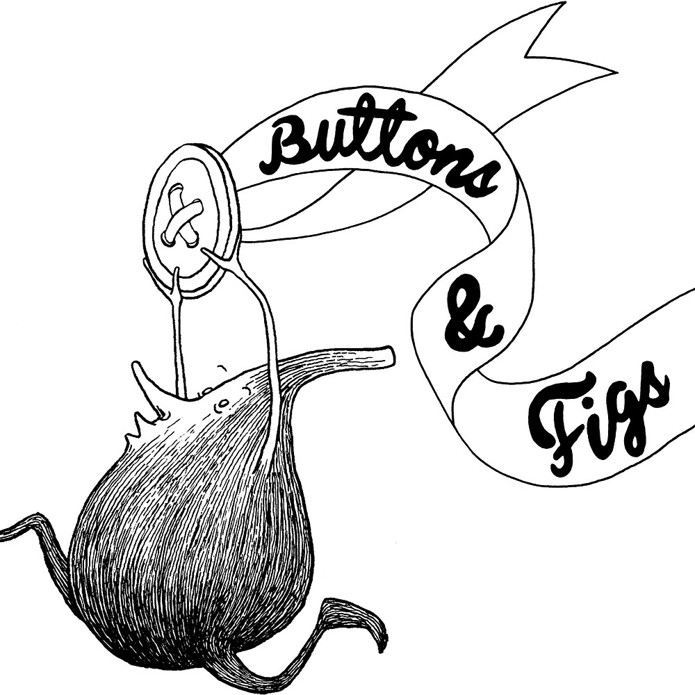 """Buttons & Figs logo - a sketch of a black personified fig running with a button and ribbon over its head with the lettering """"buttons & figs"""" on the ribbon"""