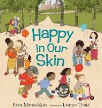 """Happy in Our Skin"" book cover - Kids of varying abilities and races playing together at a park"