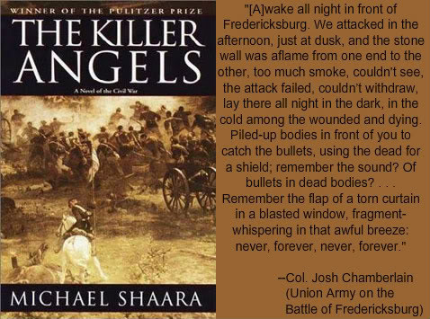 """Cover photo of """"The Killer Angels"""" with a quote from the book"""