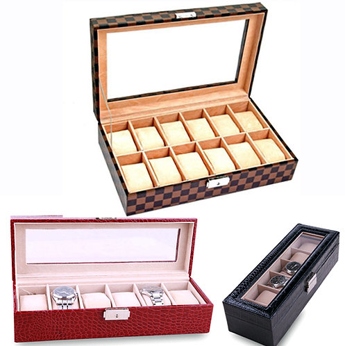 Leather Watch Organizer Box for 2,6,10,12,18, & 24 Storage Compartment