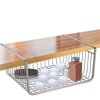 Under Shelf Storage Basket Kitchen Cabinet Cupboard Organiser Storage Rack