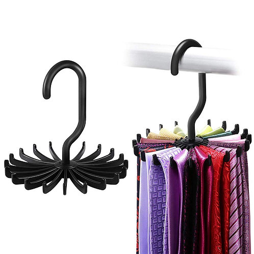 360 Degree Spinning Tie, Belts, and Scarves Hanger 20 Hook Holder