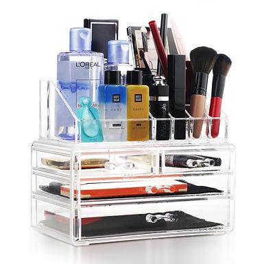 Acrylic Makeup Cosmetic Brush Holder Storage Organizer Box 6.3 x 7.7 x 9.5 inch