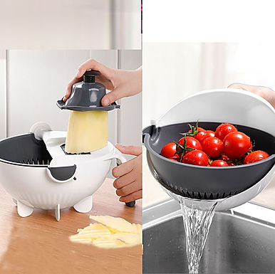 Kitchen Rotating Vegetable Fruits Cutter Shredder Grater Drain Basket Bowl