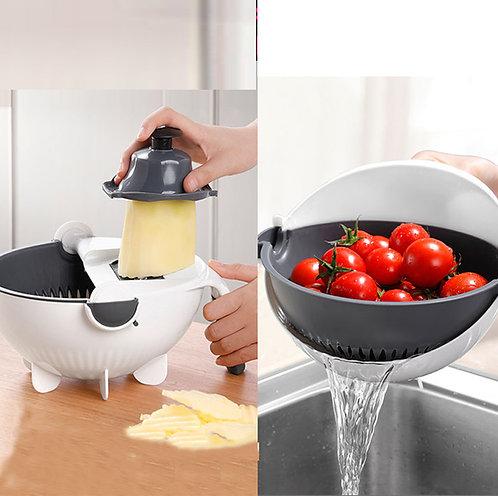 Kitchen Rotating Vegetable Fruits Cutter Shredder Grater Drain Basket Bowl