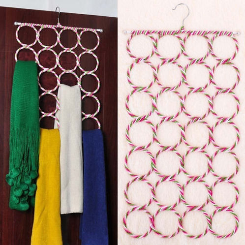 24 Rings Foldable Scarf and Multi-Purpose Hanger Organizer