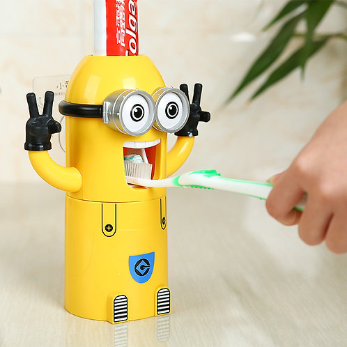Minions Automatic Kids & Childrens Toothpaste Dispenser & Toothbrush Holder