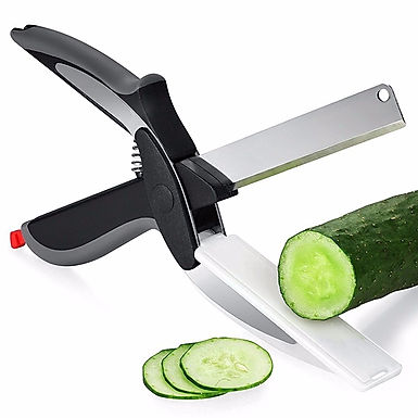 Clever Cutter 2 in 1 Stainless Steel Kitchen Vegetable Scissor & Chopping Board