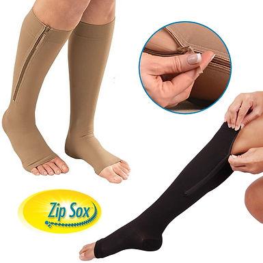 Zip Sox Zip-up Compression Leg Support Knee Stockings Socks