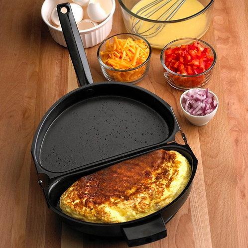 Folding Stainless Steel Non-stick Omelette Pan Egg Frying Breakfast Skillet