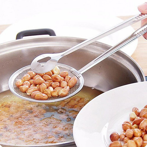 Multi-Functional 2 in 1 Deep Frying Tool Filter Spoon Kitchen Strainer with Clip