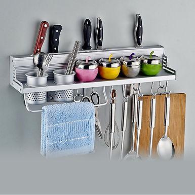 Multifunctional Kitchen Aluminium Wall Mount Utensil Hanger and Shelf