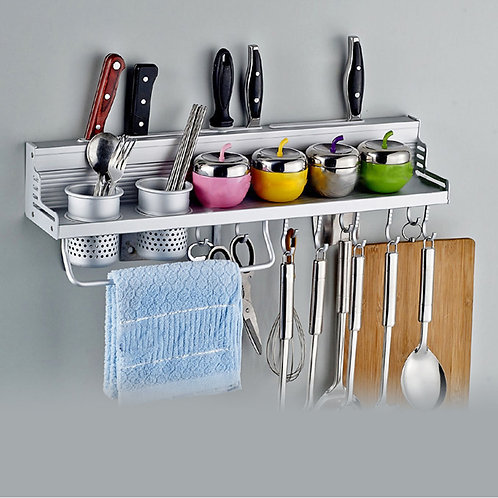 Multifunctional Kitchen Aluminium Wall Mount Utensil Hanger and Shelf