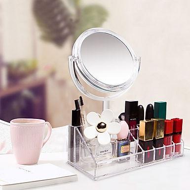 Single Layer Acrylic Cosmetic Organizer With Mirror