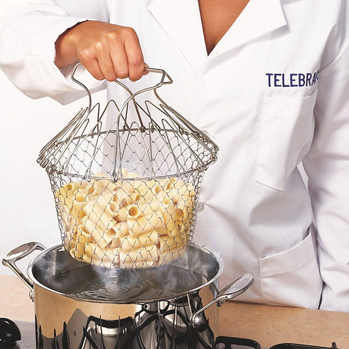 Chef Basket Deep Frying and Boiling Foldable Stainless Steel Kitchen Tool