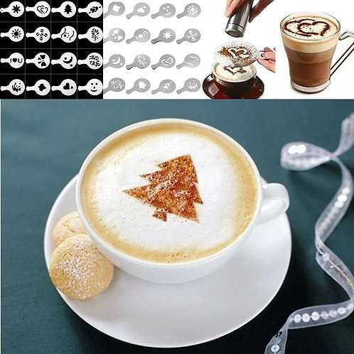 8 Patterns Coffee Decoration Moulds Tool, DIY Coffee Template Printing Mould