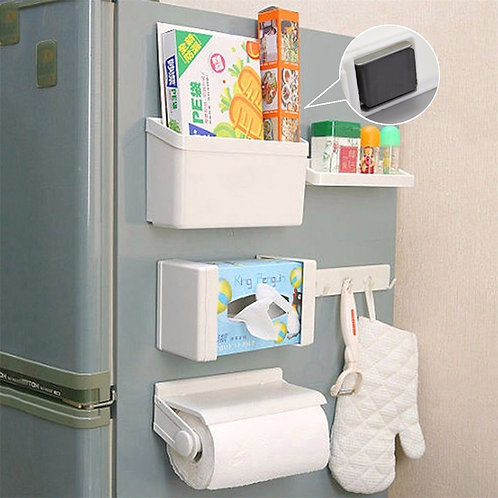 5 in 1 Refrigerator Magnetic Fridge Rack Organizer Set and Tissue Paper Holder