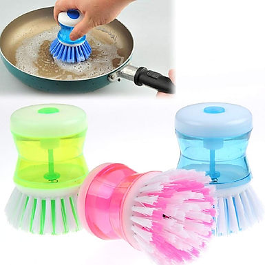 Dish / Washbasin Plastic Cleaning Round Brush With Liquid Soap Dispenser