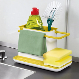 3 IN 1 Kitchen Sink Caddy Organizer For Dishwasher Liquid Brush Soap N Sponge