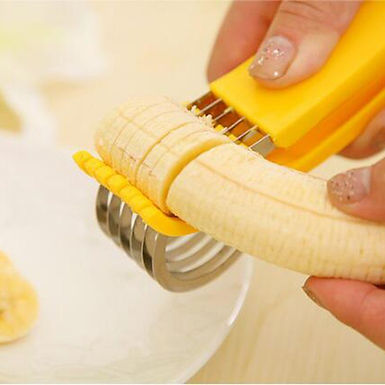 Banana Slicer Steel and Plastic Chopper Banana Section Fruit Cutter