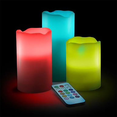 Set of 3 Flameless Color Changing LED Candles with Remote Control