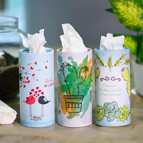 3 Pcs - Adorable Silk Soft Facial Tissue Round Box - 2 PLY