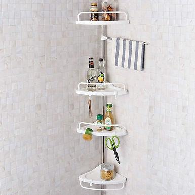 4 Tier Adjustable Height Stainless Telescopic Bathroom Corner Shelf Storage Rack