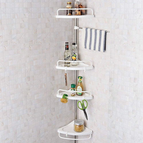 4 Tier Adjustable Height Stainless Telescopic Bathroom Corner Shelf Storage Rack