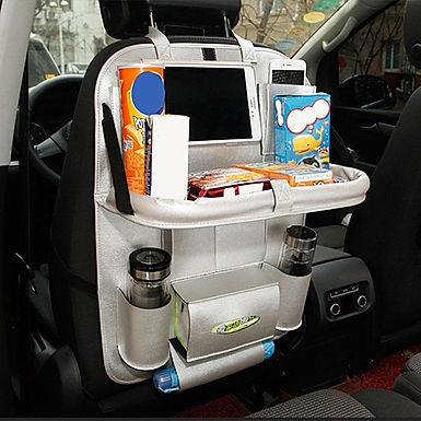 Car Backseat Luxury PU Leather Storage Organizer with Foldable Dining Table Tray