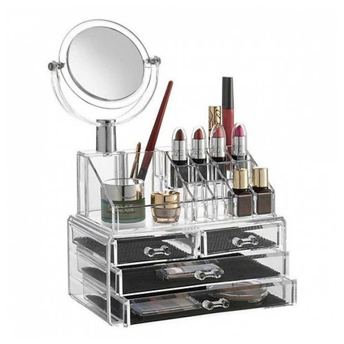Acrylic Makeup & Cosmetic Organizer With 3 Drawers & Removable Mirror