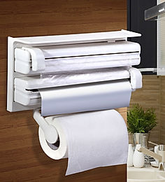 3 in 1 Kitchen Paper Roll Aluminium Foil and Food Wrapping Cling Film Dispenser