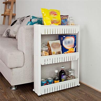 Slim Slide Out Pantry Storage Rack 3 Tier Mobile Basket Shelving Organizer
