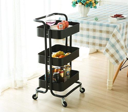 3-Tier Multipurpose Metal Cart Trolley Shelving Rack Storage Organizer
