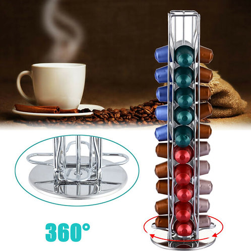 360 Rotating 40 Capsule Coffee Cup Pod Holder Tower Stand Rack for Nespresso