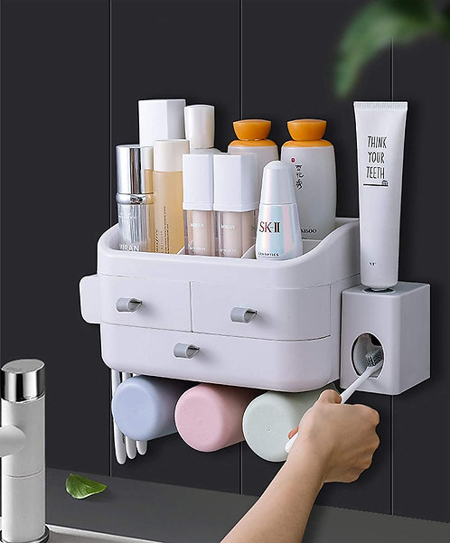 Bathroom Wall Mounted Storage Makeup Jewellery Organizer Toothbrush Holder
