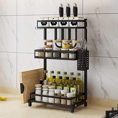3 Tier Metal Kitchen Spice Rack Organizer Holder Shelf for Pantry Jar Bottle Can