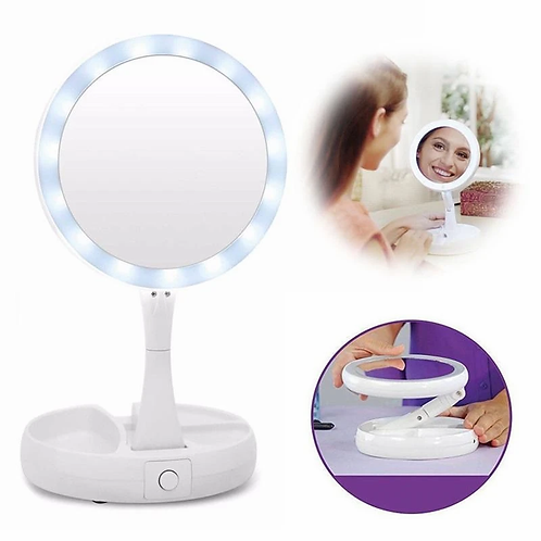 Folding Round Travel Mirror with LED Light Rotating 1x and 10x Magnifying Makeup
