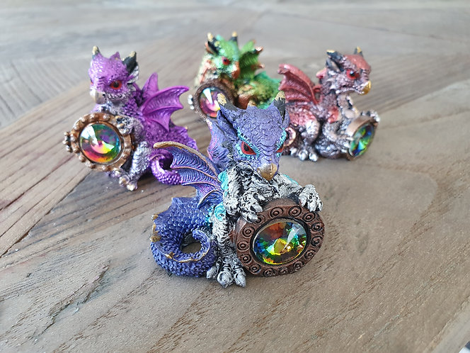Babydrachen mit Regenbogenkristall, 4er-Set