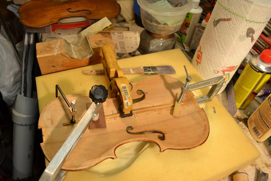 Repairing an old German fiddle top