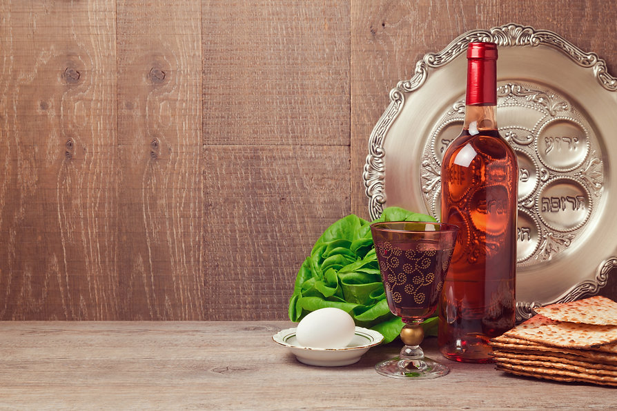 Passover background with wine bottle, ma