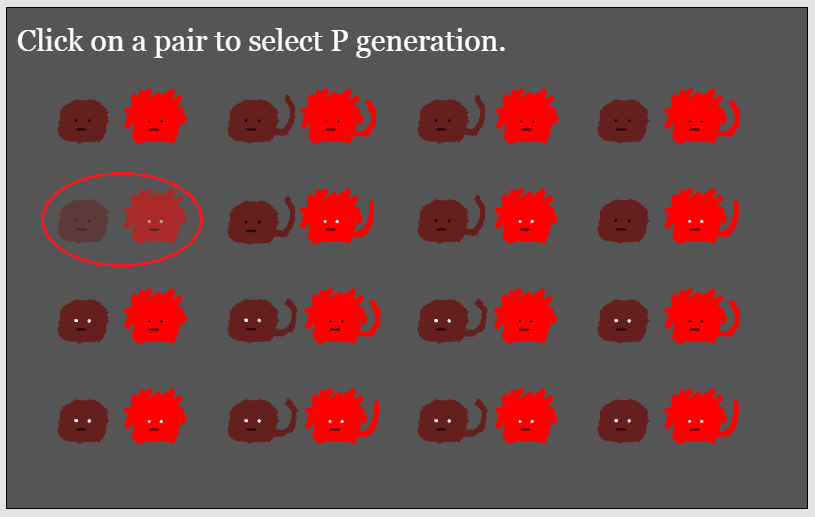 User selection of P generation phenotypes for a heredity virtual lab