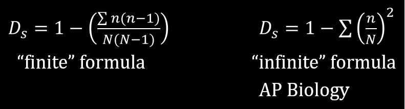 Simpson's Diversity Index formulas