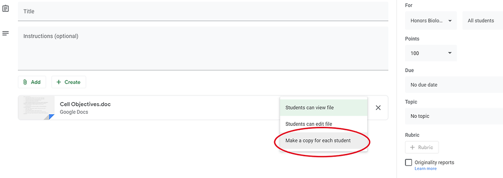 Select Make a copy for each student on a Google Classroom assignment
