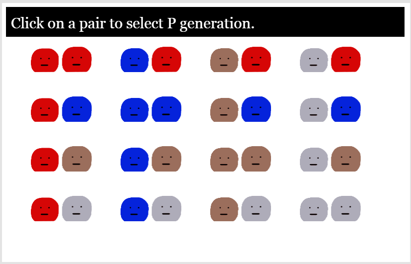 P generation options for a simulation to test incomplete dominance and/or epistasis