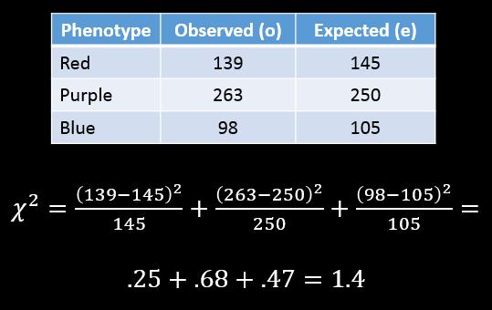 Chi-squared calculation = 1.4
