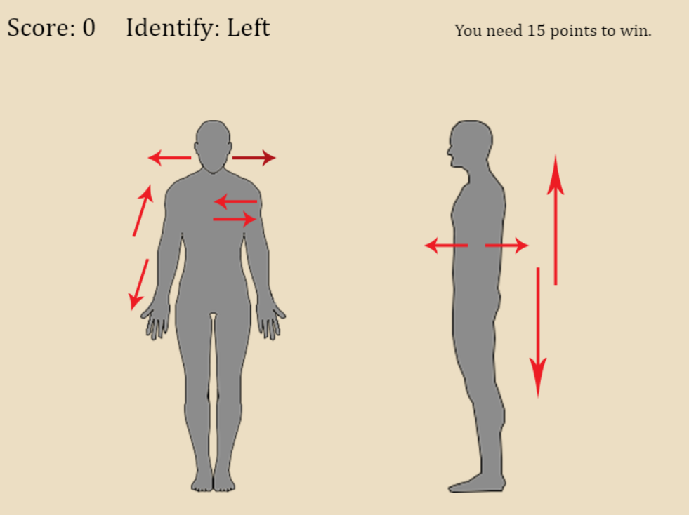 Identifying human anatomical directional terms