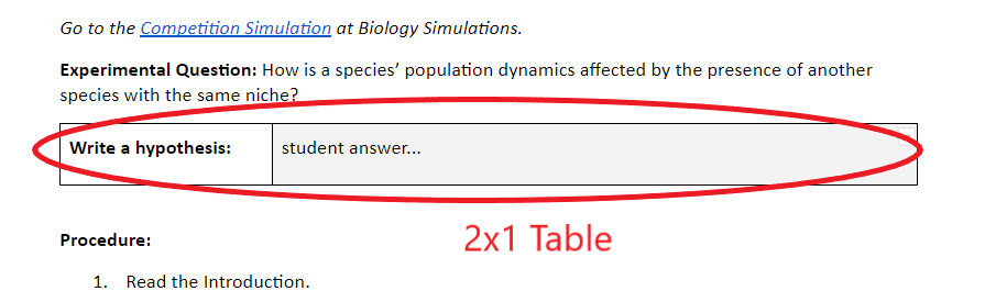 2x1 Google doc table as a text entry field